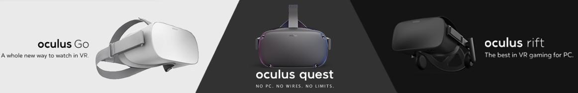 banniere qui montre les differents modèles de casques de réalité virtuelle oculus rift