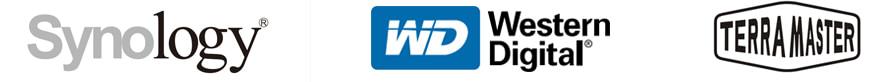 photo illustrant des logos de fabricants de serveurs NAS